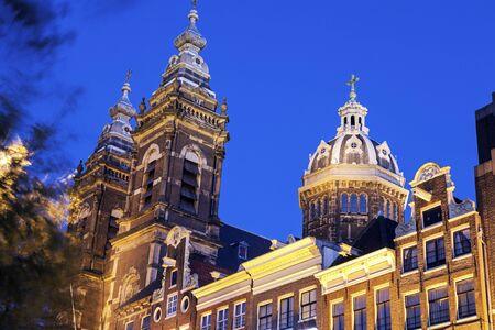 north holland: Basilica of St. Nicholas. Amsterdam, North Holland, Netherlands. Stock Photo