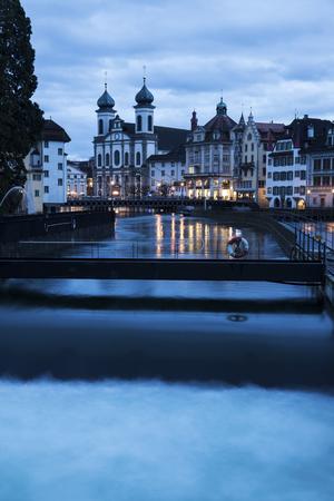 jesuit: Jesuit Church and Reuss River. Lucerne, Switzerland Stock Photo