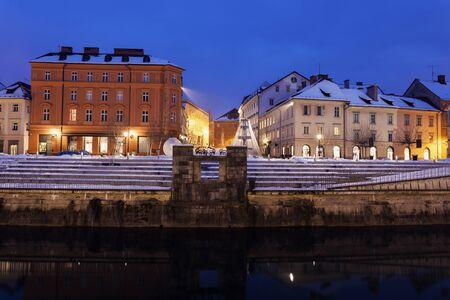 Architecture along Ljubljanica River. Ljubljana, Slovenia