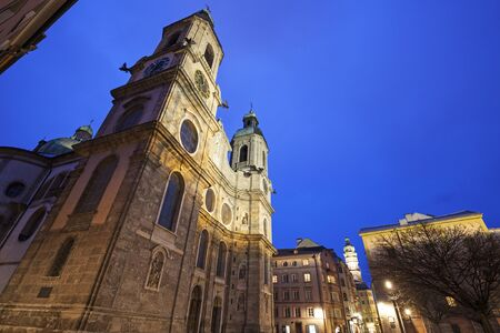 innsbruck: St. Jacobs Cathedral in Innsbruck. Innsbruck, Tyrol, Austria.