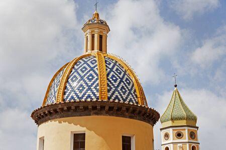 colourful sky: San Gennaro Church in Praiano. Praiano, Campania, Italy Stock Photo