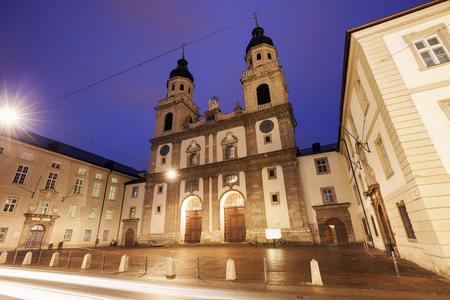 innsbruck: Church in Innsbruck at sunset. Innsbruck, Tyrol, Austria.