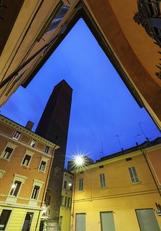 bologna: Tower Prendiparte or Coronata  in Bologna. Bologna, Emilia-Romagna, Italy Stock Photo