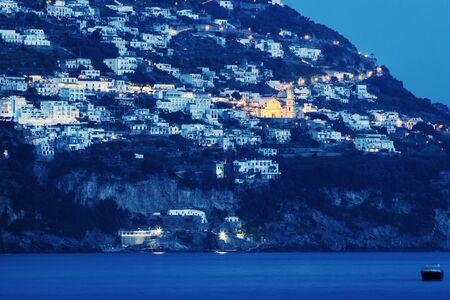 positano: Praiano panorama with San Gennaro Church. Seen from Positano. Praiano, Campania, Italy Stock Photo