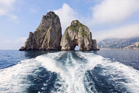 capri: The Faraglioni by Capri Island. Capri, Campania, Italy
