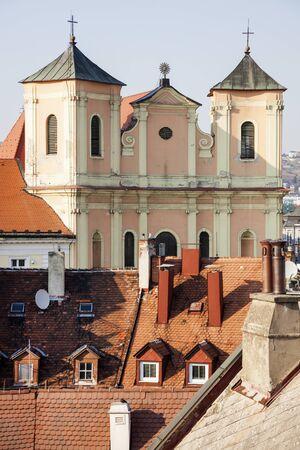 trinity: Trinity Church by Hurbanovo Square. Bratislava, Slovakia. Stock Photo