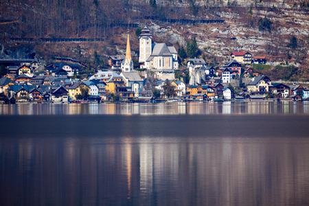 upper austria: Hallstatt panorama across the lake. Hallstatt, Upper Austria, Austria.