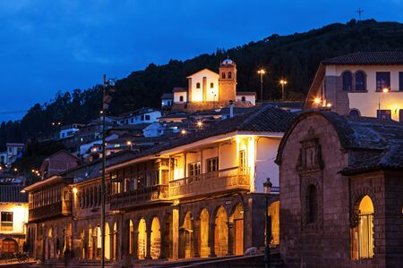 plaza de armas: Night view from Plaza de Armas in Cuzco, Peru