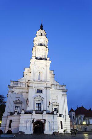 kaunas: Town Hall of Kaunas before sunrise. Kaunas, Lithuania.