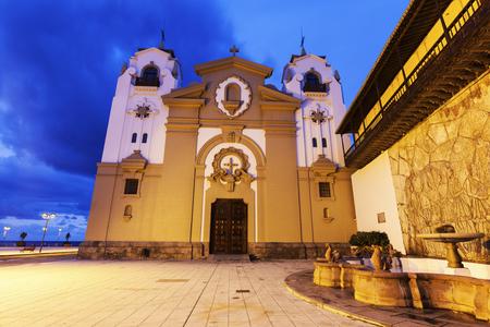 santa cruz de tenerife: Candelaria Church at night. Candelaria, Santa Cruz de Tenerife, Tenerife, Canary Islands, Spain.