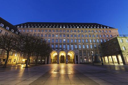 rathaus: Bochum Rathaus at night. Bochum, North Rhine-Westphalia, Germany Stock Photo