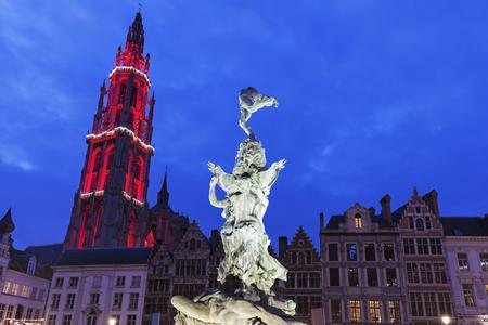 flemish region: Brabo Fountain on Grote Markt in Antwerp. Antwerp, Flemish Region, Belgium Stock Photo