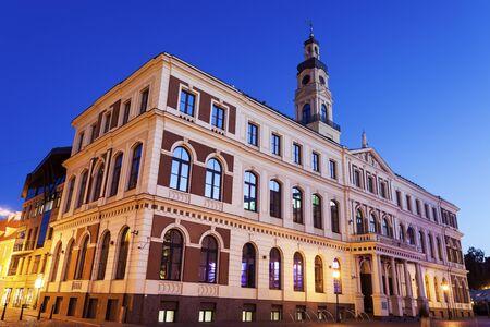 Riga City Hall at night. Riga, Latvia. 版權商用圖片