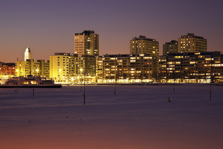 Night in Helsinki. Seen from frozen Baltic Sea. Stok Fotoğraf
