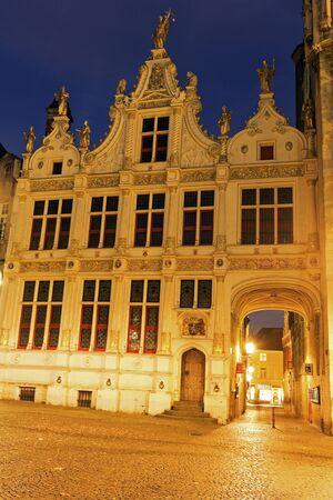 flemish region: Blinde-Ezelstraat from Burg Square. Bruges, Flemish Region, Belgium Stock Photo