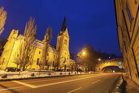 House over Karlov road and St. Jamess Parish Church. Ljubljana, Slovenia Imagens