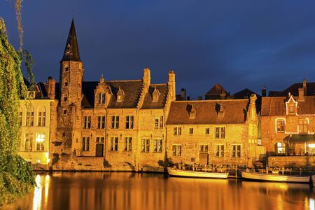 flemish region: Architecture of Bruges at sunset. Bruges, Flemish Region, Belgium Stock Photo