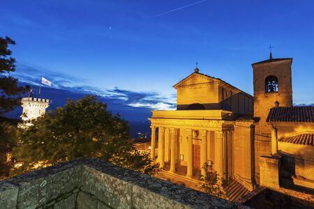 san marino: Basilica di San Marino at night. San Marino, San Marino