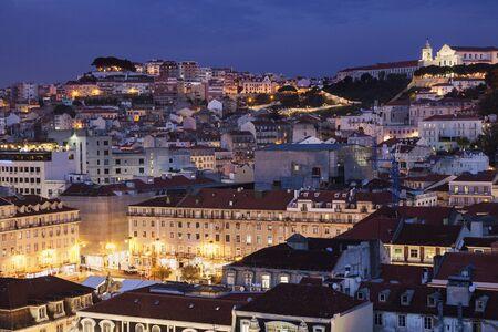 Architecture of Lisbon at night. Lisbon, Portugal.