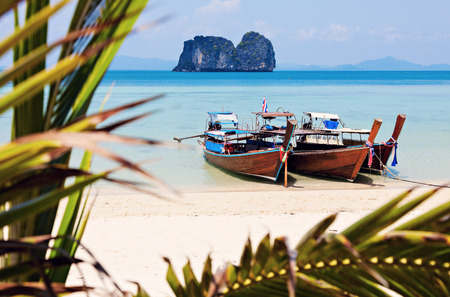 Long Tail boats on the beach in Thailand