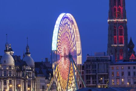 flemish region: Cathedral of Our Lady in Antwerp and the wheel. Antwerp, Flemish Region, Belgium