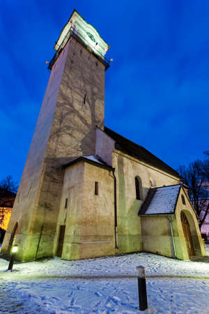 Church of St. Egidius in Poprad at night. Poprad, Slovakia