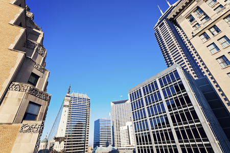 indianapolis: Indianapolis architecture with State Capitol and Soldier and Sailors Monument. Indianapolis, Indiana, USA. Stock Photo