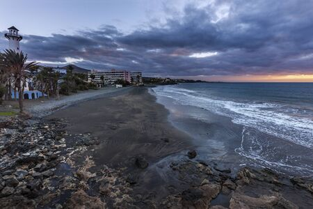 bartolome: Playa del Aguila at sunrise. San Bartolome de Tirajana, Gran Canaria, Canary Islands, Spain.