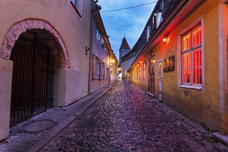 tallin: Tallin old town streets before sunrise. Tallin, Estonia.