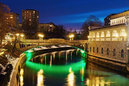 Bridges on Ljubljanica River at night. Ljubljana, Slovenia