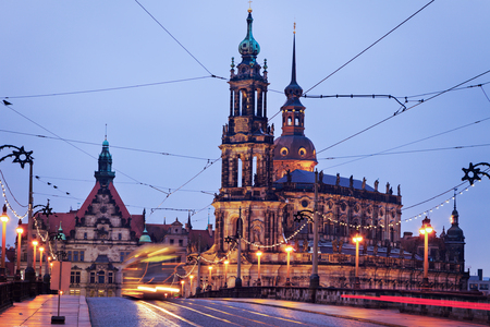 augustus: Dresden architecture from Augustus Bridge. Dresden, Saxony, Germany.