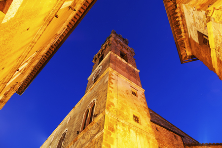 Piazza - streets of old town. Pienza, Tuscany, Italy