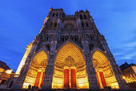 our: Cathedral of Our Lady of Amiens. Amiens, Nord-Pas-de-Calais-Picardy, France. Stock Photo