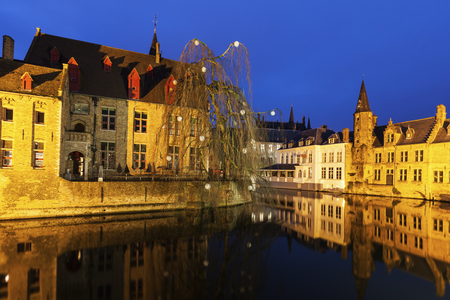 flemish region: House and canals in Bruges. Bruges, Flemish Region, Belgium