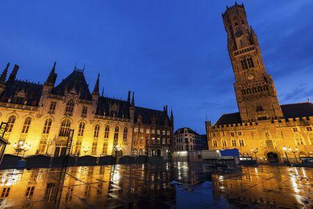 flemish region: Belfry of Bruges at night. Bruges, Flemish Region, Belgium