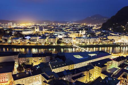 salzach: Salzburg panorama with Salzach River. Salzburg, Austria.