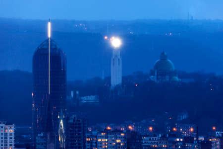 liege: Panorama of Liege during rainy evening. Liege, Wallonia, Belgium Stock Photo