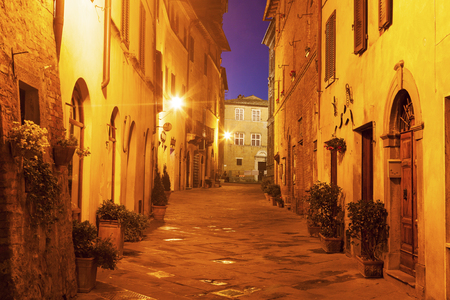 pienza: Pienza old town before sunrise. Pienza, Tuscany, Italy