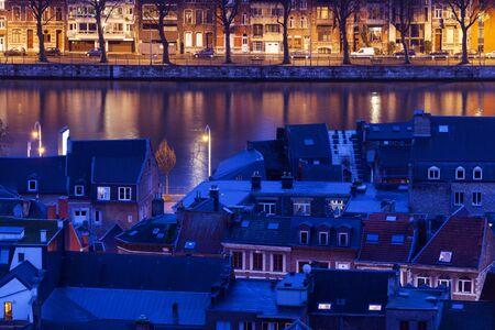 meuse: Architecture of Liege along Meuse River. Liege, Wallonia, Belgium Stock Photo