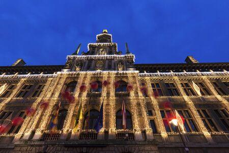 flemish region: Antwerp City Hall at dusk. Antwerp, Flemish Region, Belgium. Stock Photo