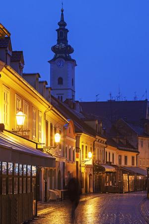 marys: Streets of Zagreb old town and St. Marys Church. Zagreb, Croatia