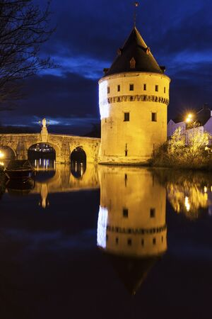 flemish region: Broel Towers Bridge in Kortrijk. Kortrijk, Flemish Region, Belgium