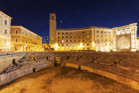 amphitheater: Piazza Santo Oronzo and Roman Amphitheatre in Lecce. Lecce, Apulia, Italy