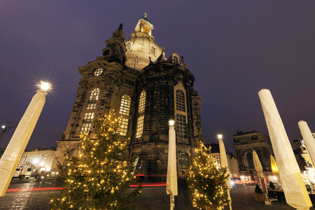 christmas in the city: Church of Our Lady on Neumarkt in Dresden. Dresden, Saxony, Germany.