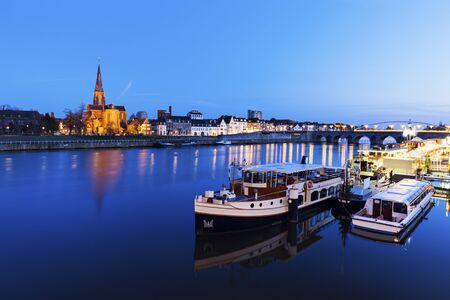 meuse: Meuse River in Maastricht. Maastricht, Limburg, Netherlands.