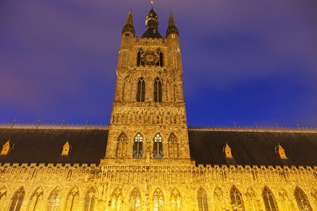 ypres: Cloth Hall and Belfry in Ypres. Ypres, West Flanders, Flemish Region, Belgium
