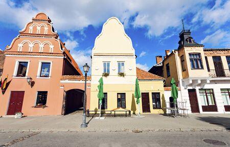 Sunny day on Kedainiai market square. Kedainiai, Lithuania.