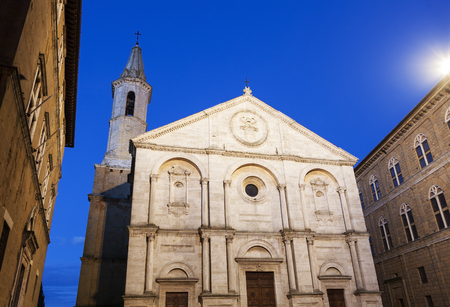 pienza: Pienza Cathedral in the old town. Pienza, Tuscany, Italy