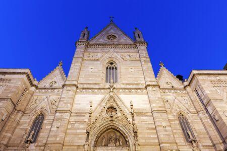 naples: Naples Cathedral at night. Naples, Campania, Italy Stock Photo