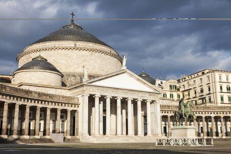 San Francesco di Paola Church on Piazza Plebiscito in Naples . Naples, Campania, Italy
